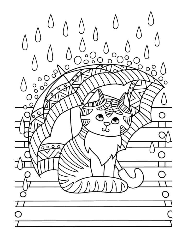 Gambar kucing payung mewarnai